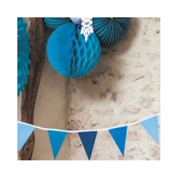 Guirlande petits fanions bleu 2m