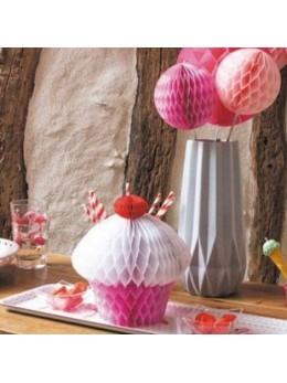 Déco cupcake alvéolé rose 20cm
