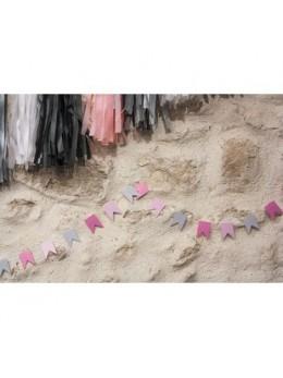 Guirlande mini fanions gris rose 2m
