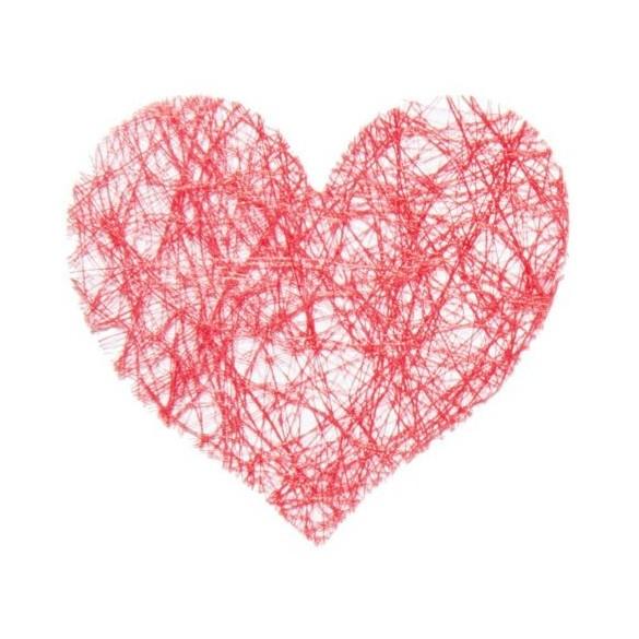 Sachet de 100 coeurs fibre rouge