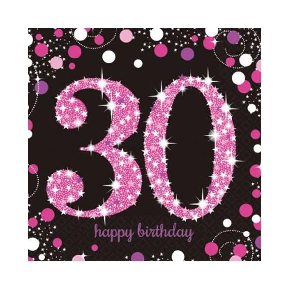 16 serviettes glitters rose 30 ans