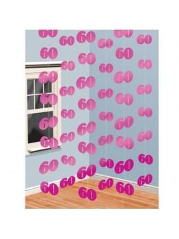 6 guirlandes verticales 60ans rose