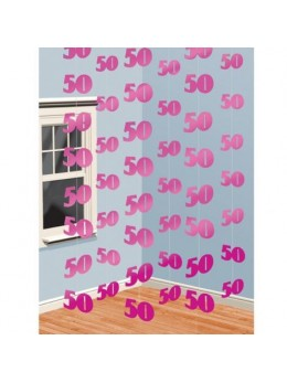 6 guirlandes verticales 50ans rose