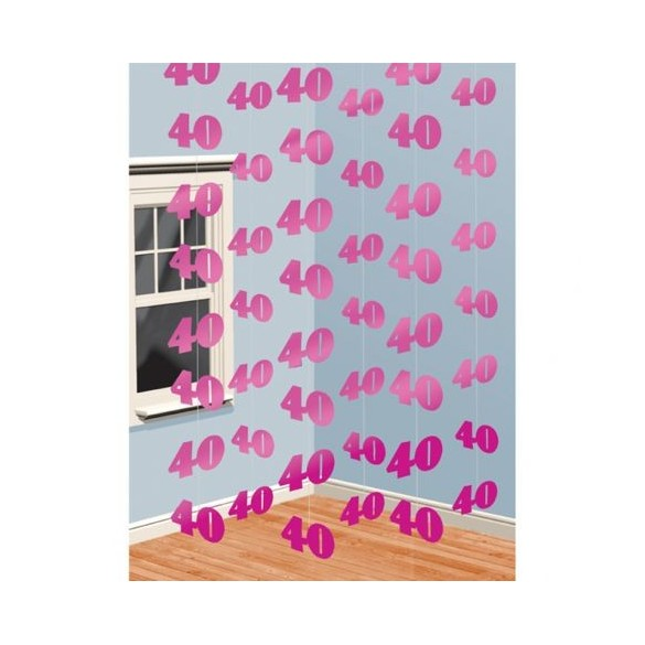 6 guirlandes verticales 40ans rose