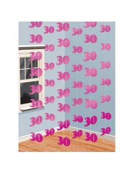 6 guirlandes verticales 30ans rose