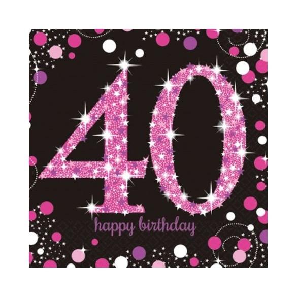 16 serviettes glitters rose 40 ans