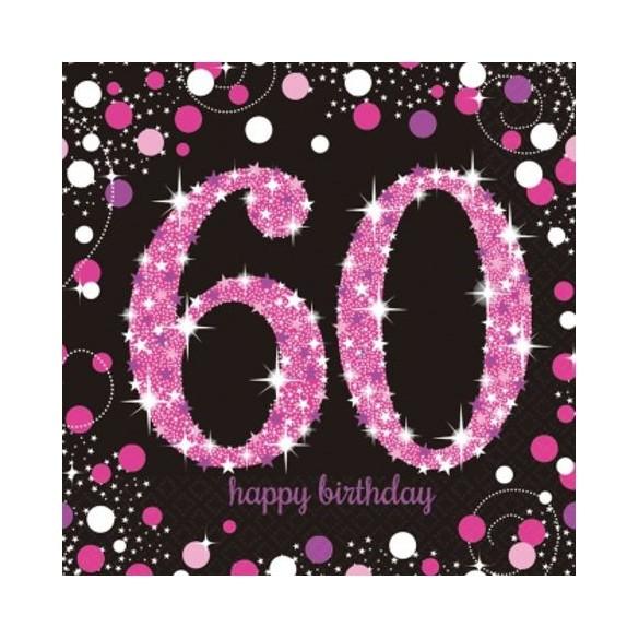 16 serviettes glitters rose 60 ans