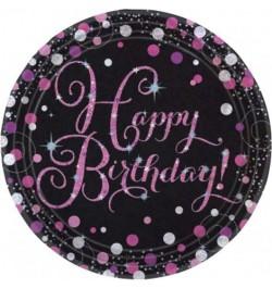 8 Assiettes glitters rose anniversaire