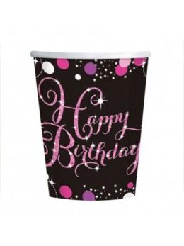 8 Gobelets anniversaire glitters rose