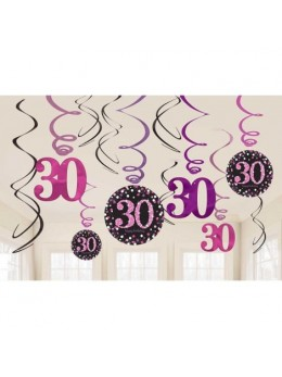 12 Suspensions glitter 30 ans