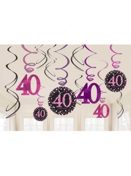12 Suspensions glitter 40 ans