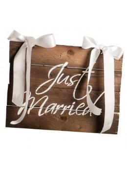 Pancarte imitation bois Just Married