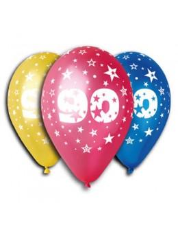 10 ballons 90 ans multicolore