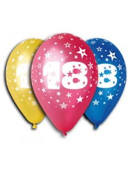 10 ballons 18 ans multicolore