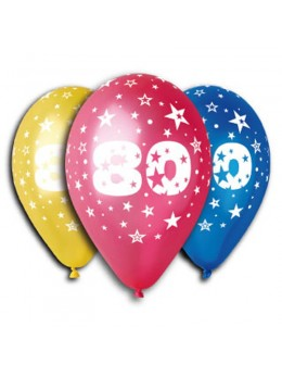 10 ballons 80 ans multicolore