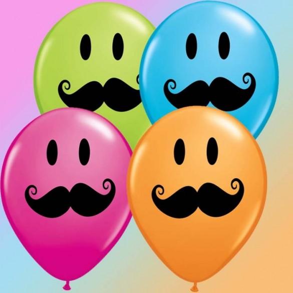 10 Ballons Smile Moustache