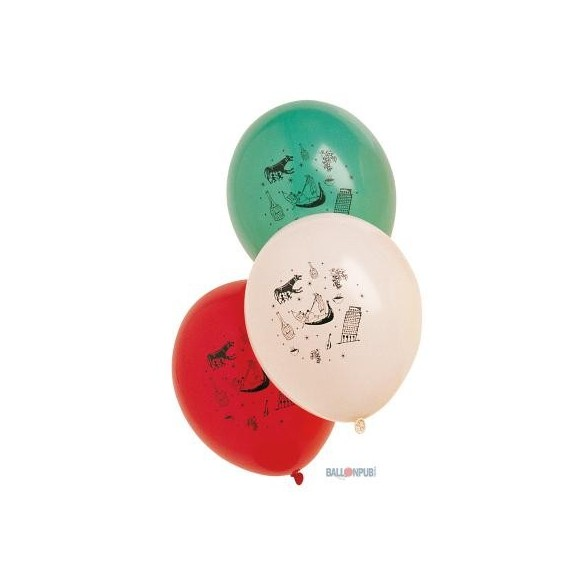 10 Ballons ambiance Italienne 30cm