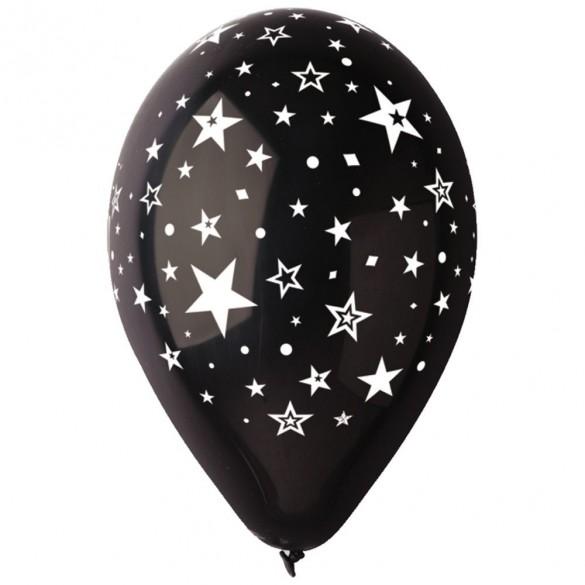 10 ballons noirs étoiles blanches