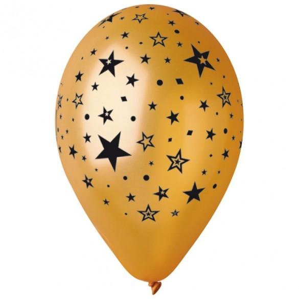 10 ballons or étoiles noires 30cm