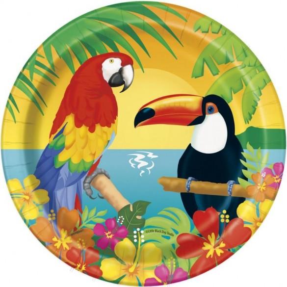 8 Assiettes oiseaux exotiques 18cm