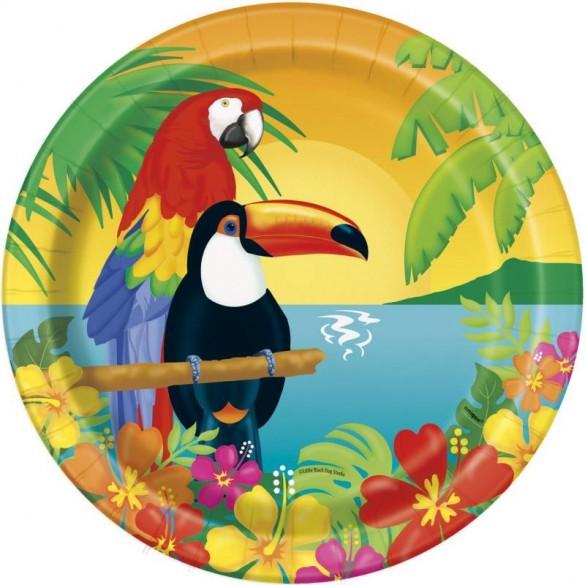 8 Assiettes oiseaux exotiques 23cm