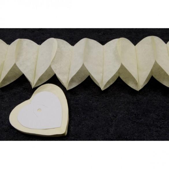 Guirlande coeur ivoire 6m