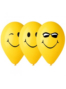 "10 Ballons jaune ""smile"""