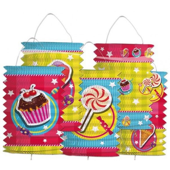 5 Lampions motif cupcake