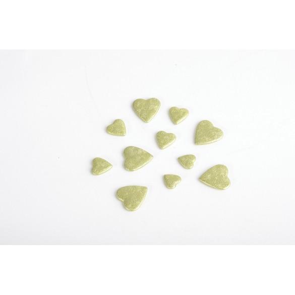 Coeurs 3D vert lime
