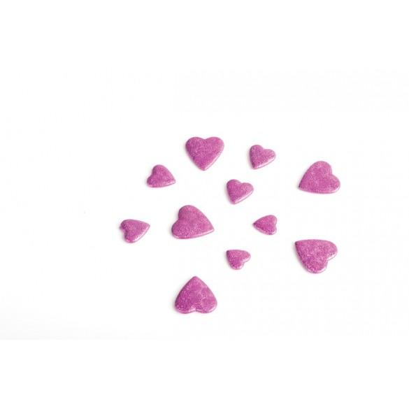 Coeurs 3D fuchsia