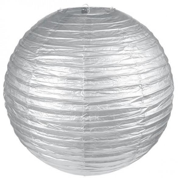 Lampion géant métallisée XL argent