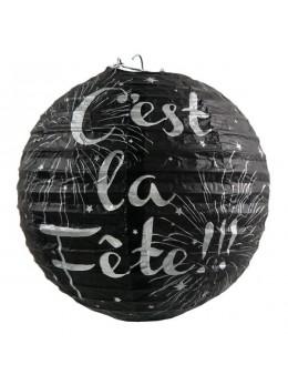 """2 LAMPIONS NOIRS """"C'EST LA FÊTE"""""""