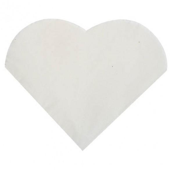 20 Serviettes coeur blanches