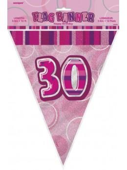 Guirlande 30 ans rose