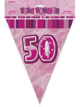 Guirlande 50 ans rose