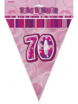 Guirlande 70 ans rose