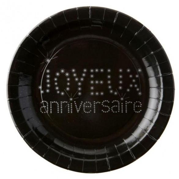 10 Assiettes noires motif anniversaire