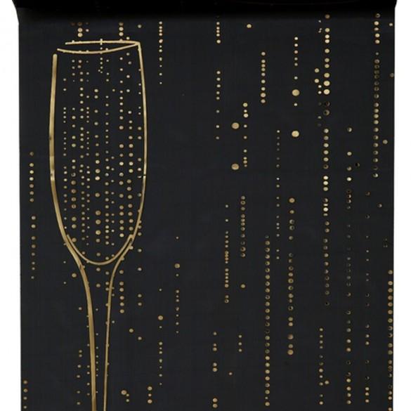 Chemin de table champagne noir