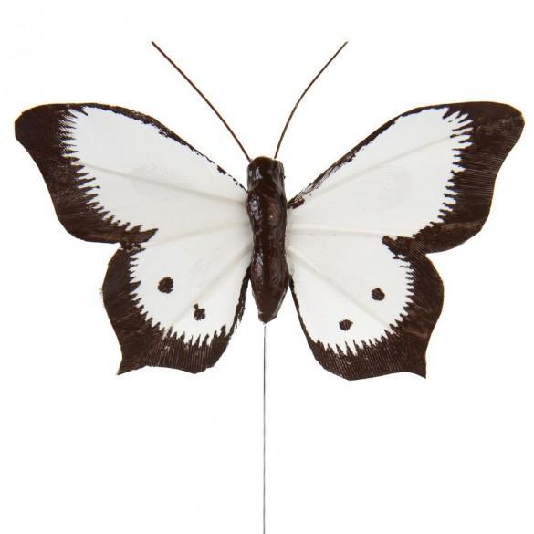 6 Papillons sur tige bicolores blanc