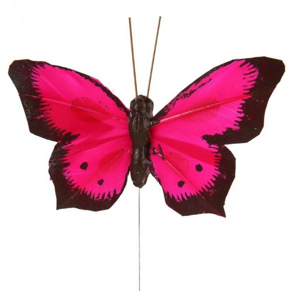 6 Papillons sur tige bicolores fuchsia
