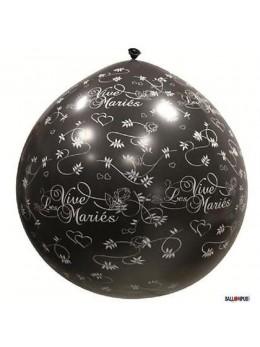 Ballon géant 1m Vive les mariés noir