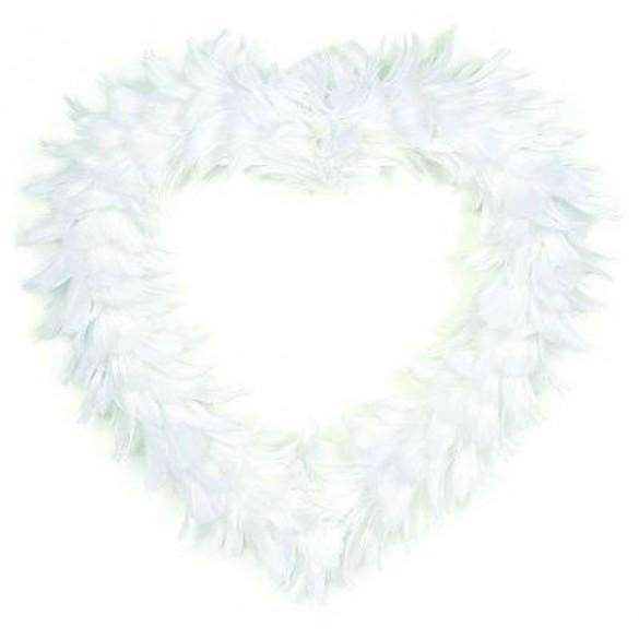 Gros coeur en plumes blanches XL