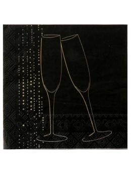 20 serviettes champagne noir