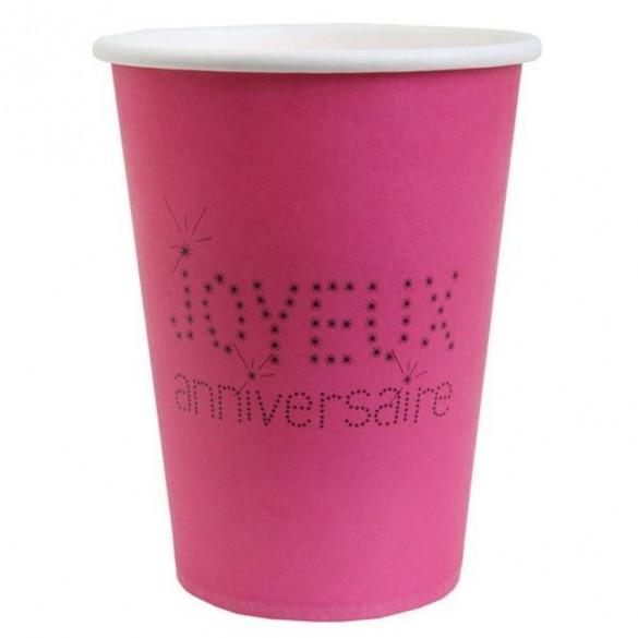 10 Gobelets anniversaire fuchsia