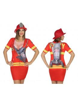 tshirt déguisement pompier fille