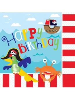 16 serviettes cocktail Happy birthday pirate