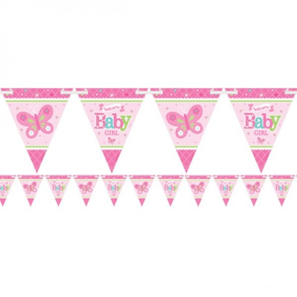 Guirlande fanions baby shower fille