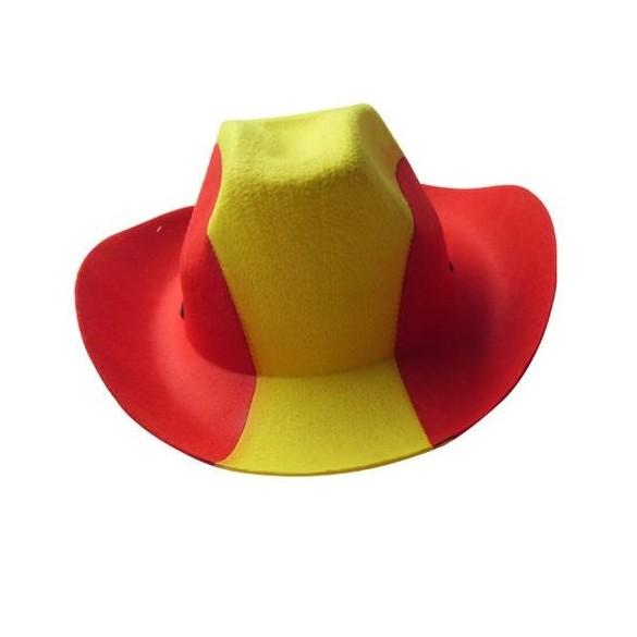 chapeau de cowboy rouge et jaune