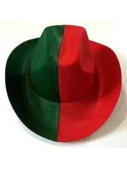 chapeau de cowboy rouge et vert