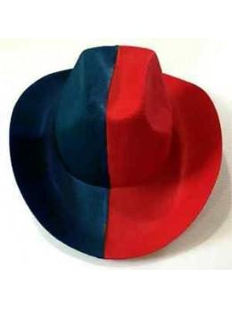 chapeau de cowboy rouge et bleu